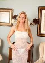 Stunning Older Blond Louise Dakotah Pulls Off White Panties.